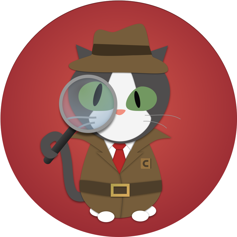 Cats by contrast security. Detective clipart cat