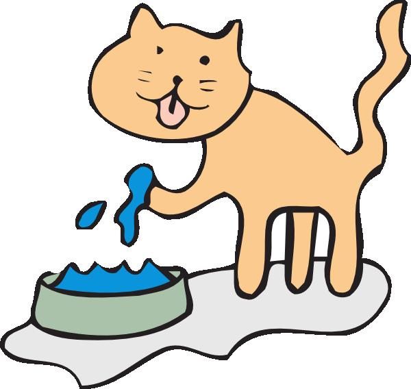 Cat drinking clip art. Dog clipart feed