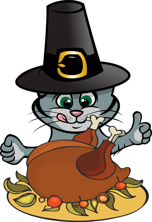 Cat and kitten at. Pet clipart thanksgiving