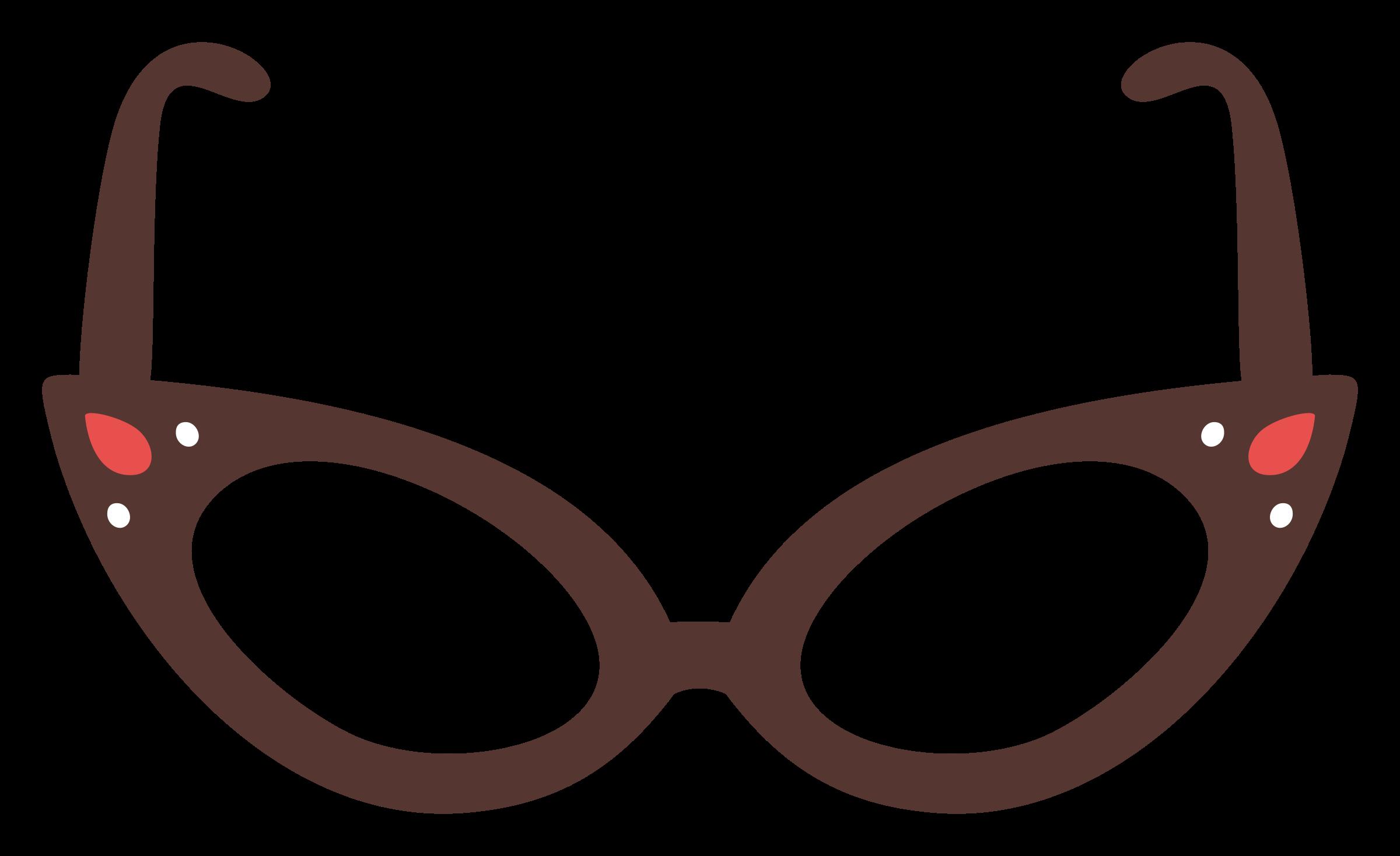 Glasses clipart brown. Cat eye big image