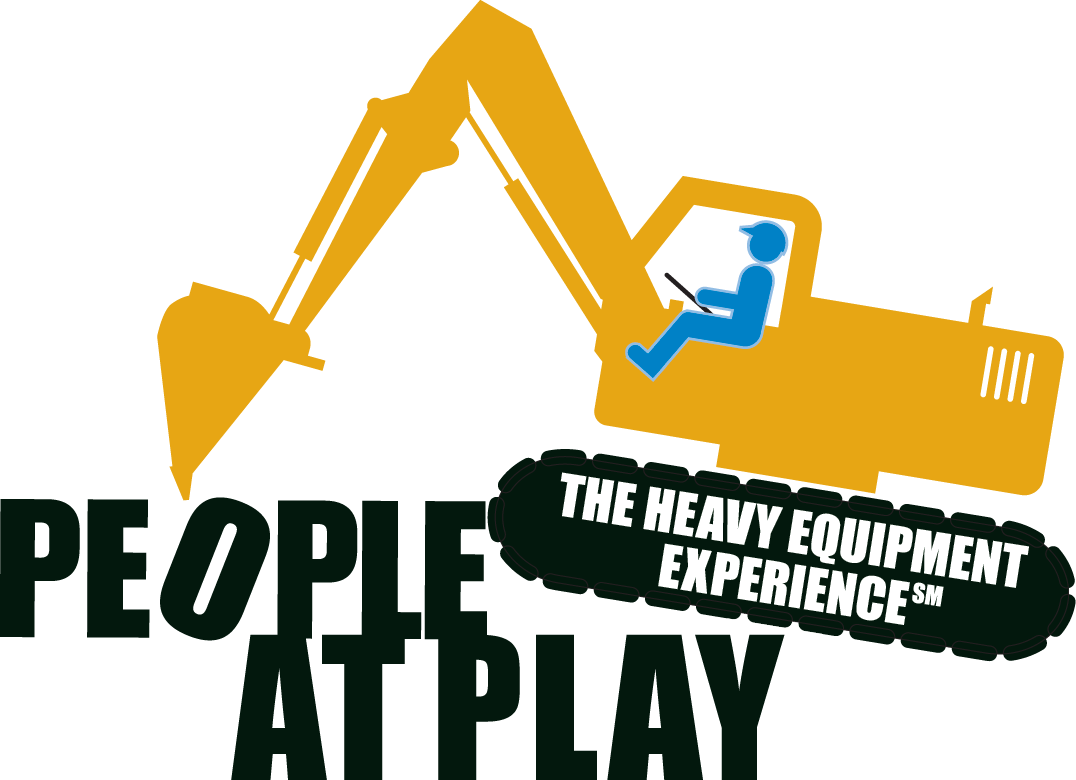 Excavator clipart logo. People at play the