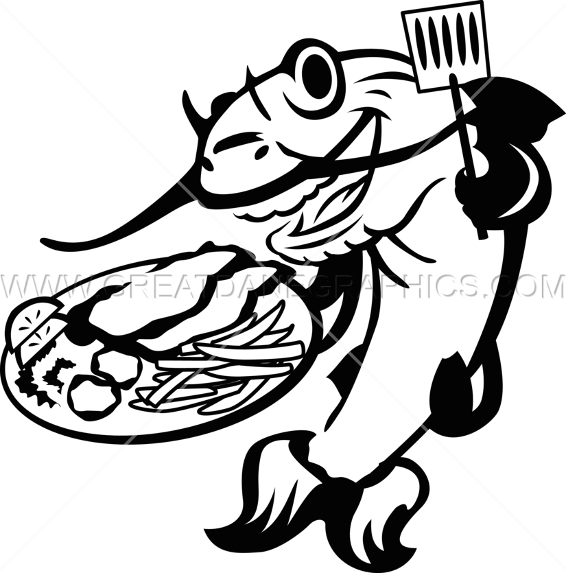 Fries clipart frying fish. Catfish line drawing at