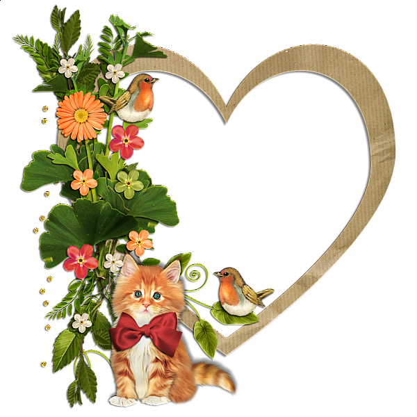 Kitty birds and flowers. Kitten clipart flower