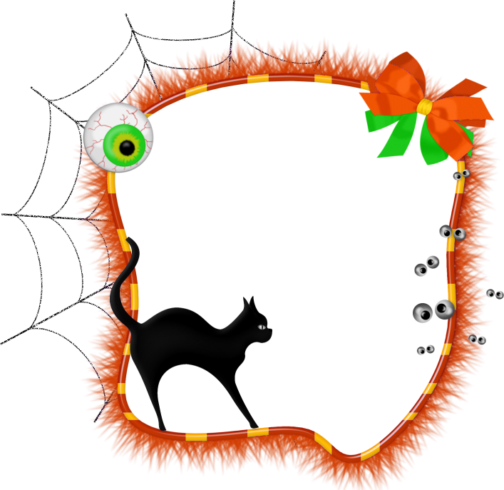 Halloween frame png. Transparent photo with black