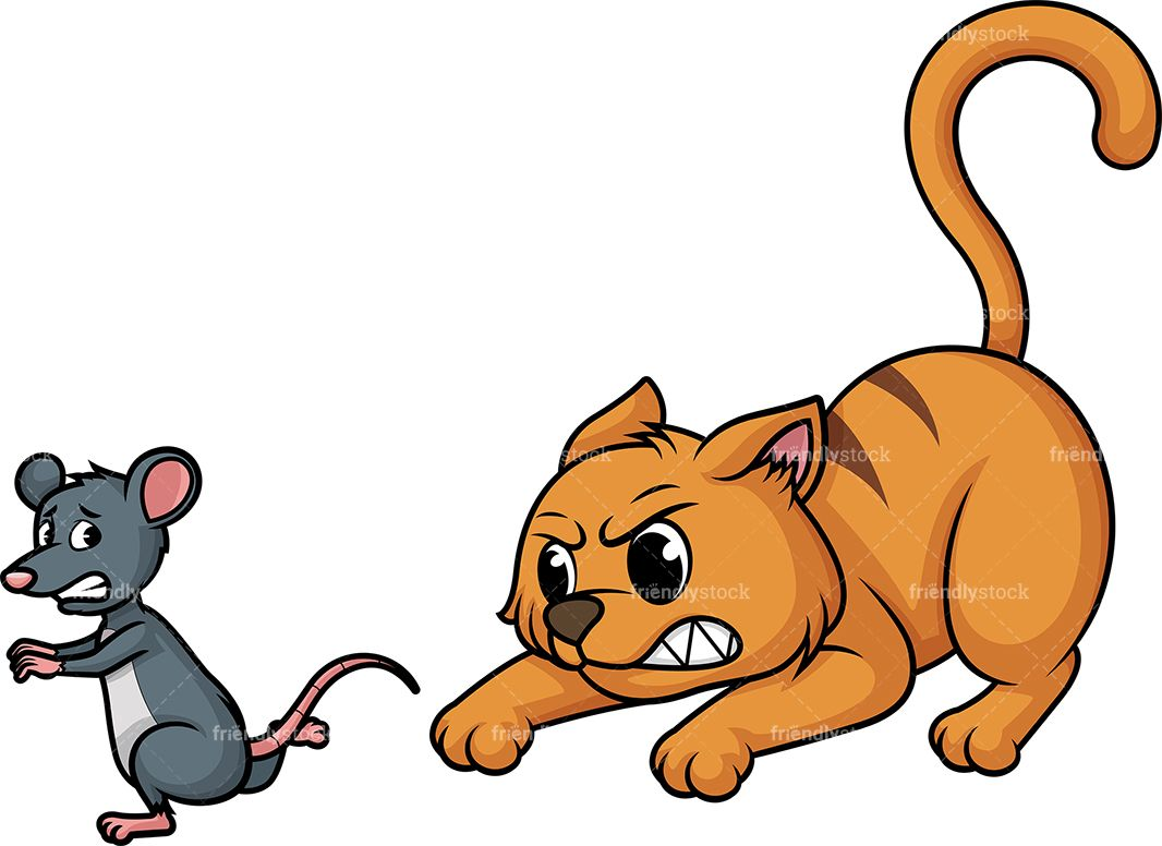 Chasing mouse of animals. Clipart cat friend