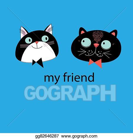 Clipart cat friend. Vector art portraits of