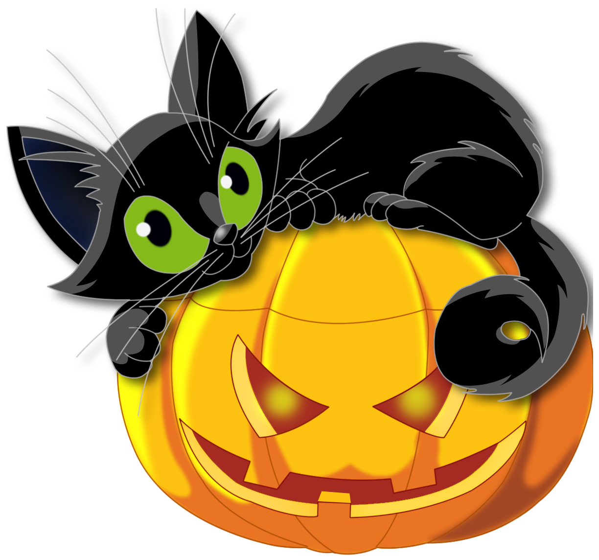 Large transparent pumpkin with. Clipart halloween black cat