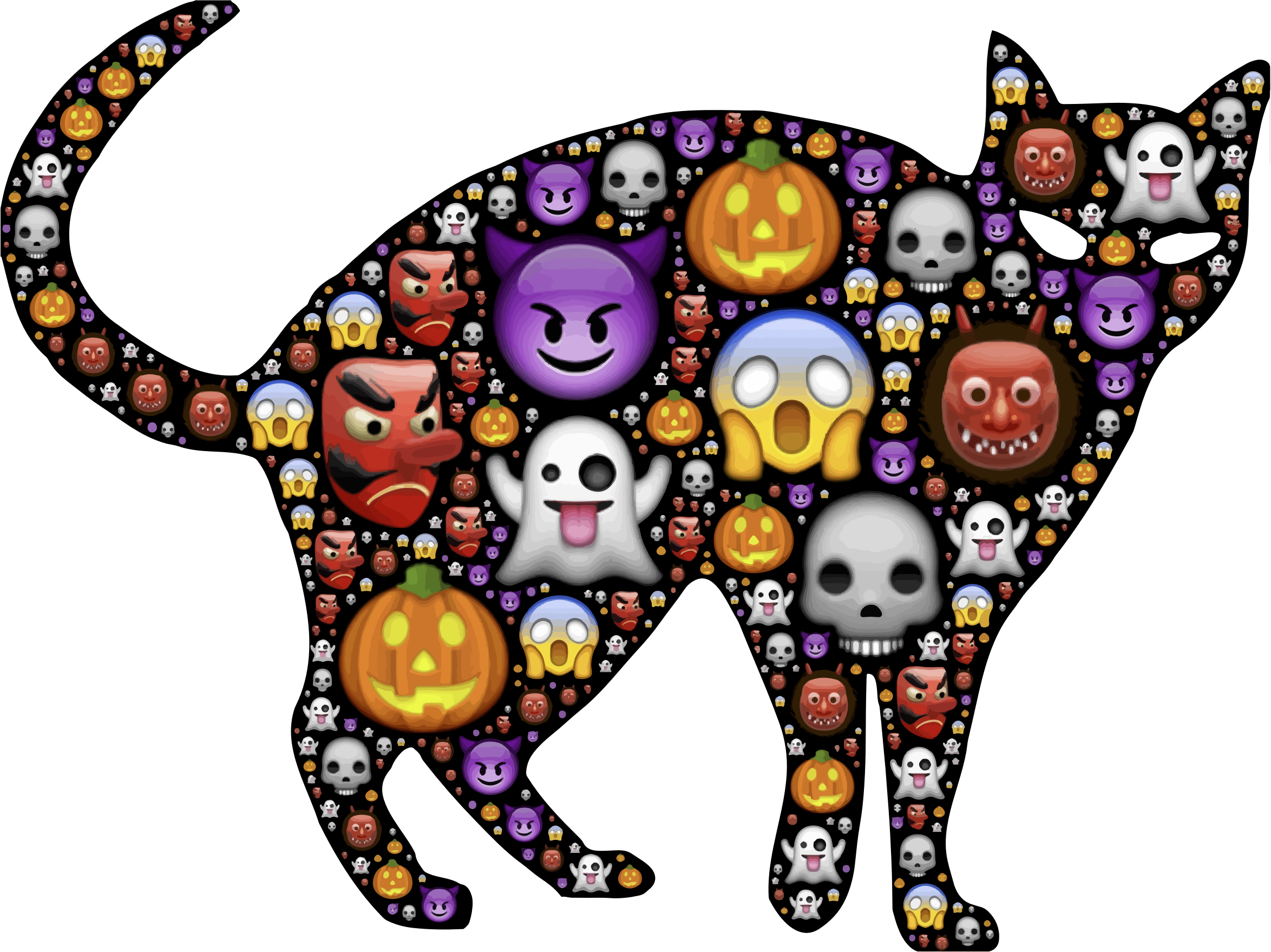 Colorful big image png. Clipart cat halloween