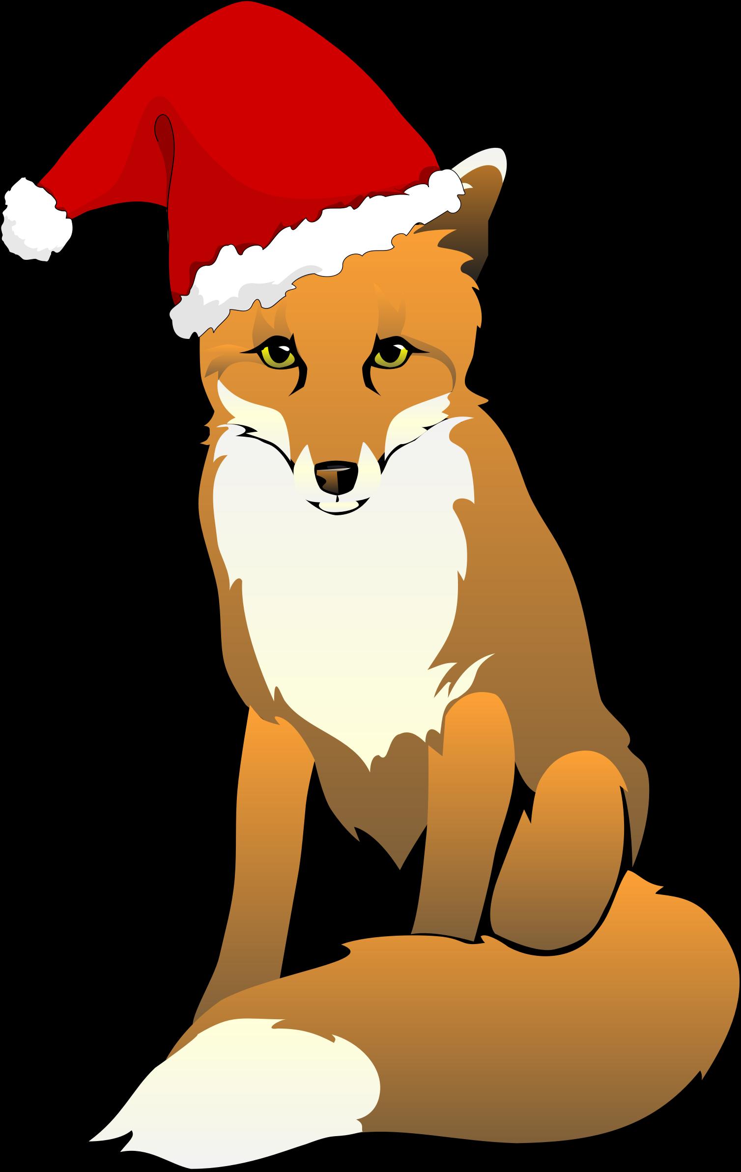 Fox clipart cartoon. Wearing santa hat big
