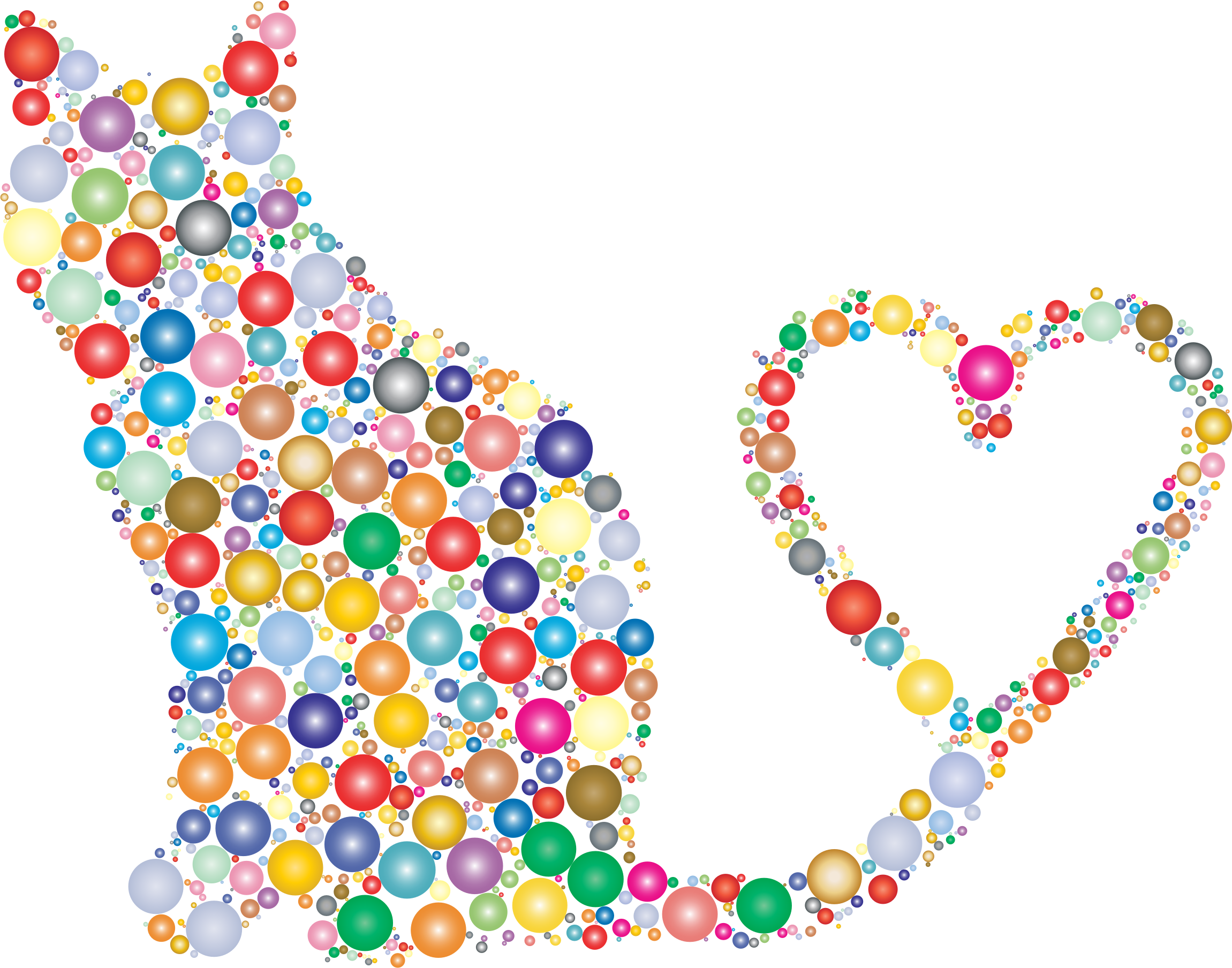 Silhouette tail circles prismatic. Heart clipart cat