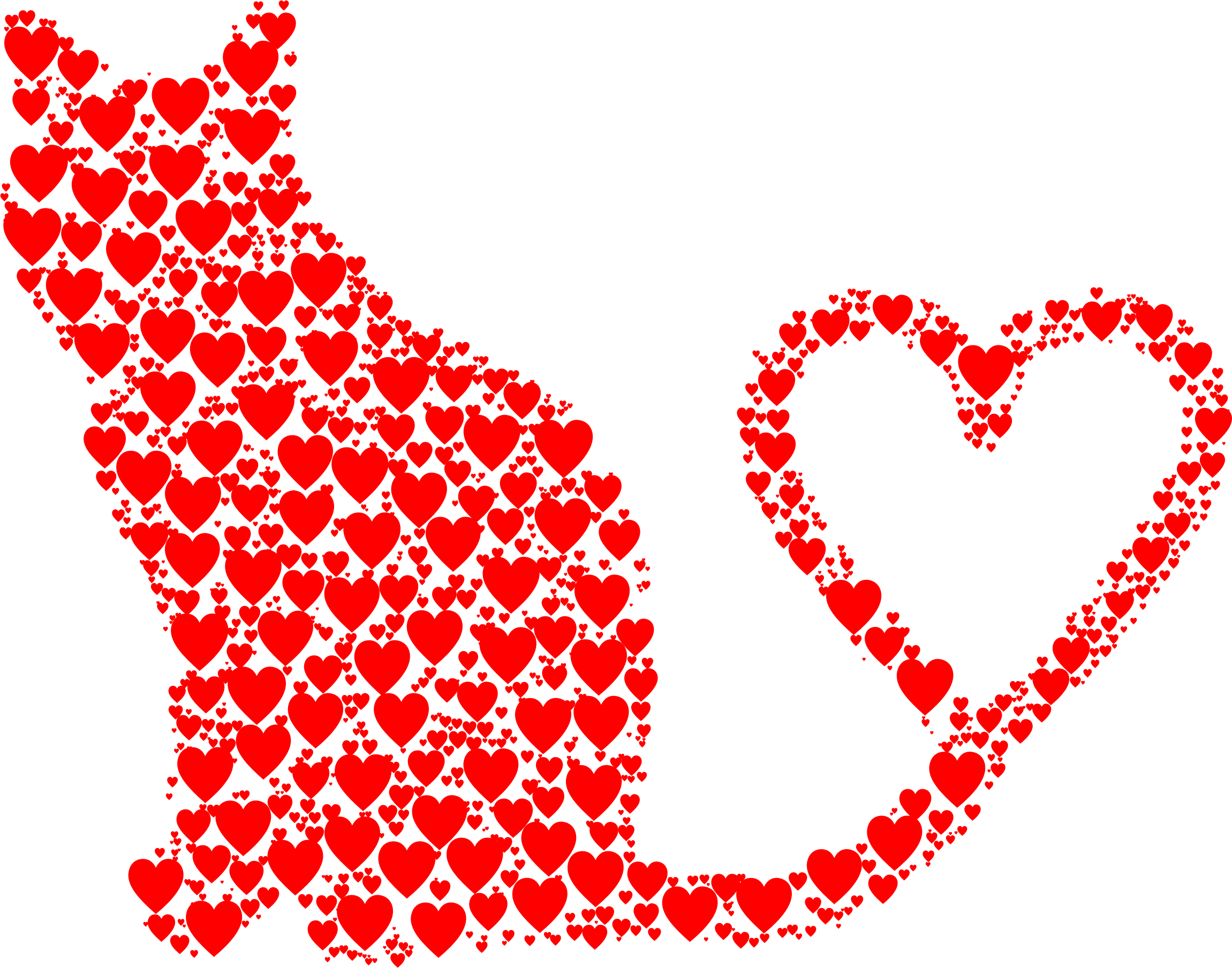Silhouette tail hearts big. Heart clipart cat