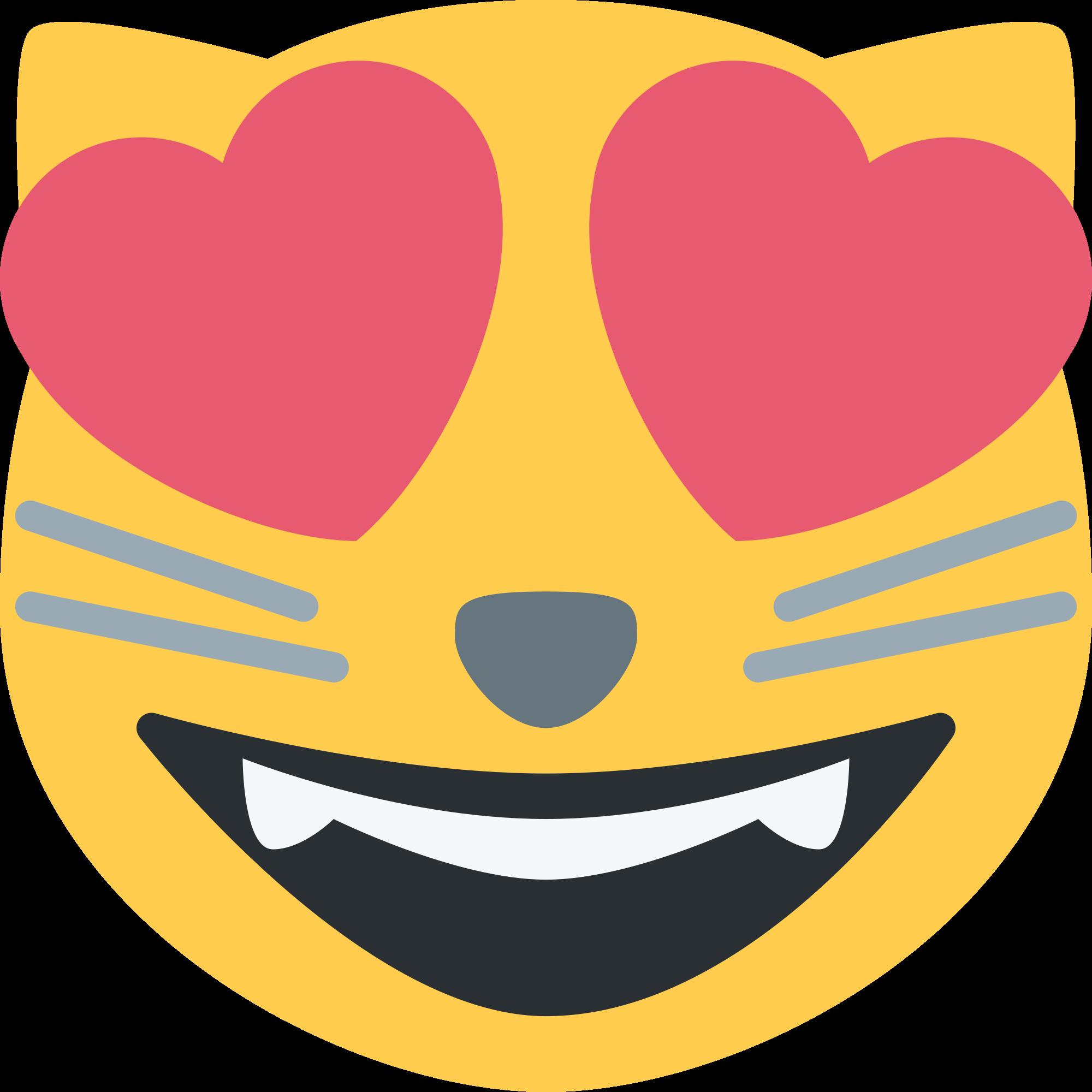 Clipart cat heart. Emoji eyes png