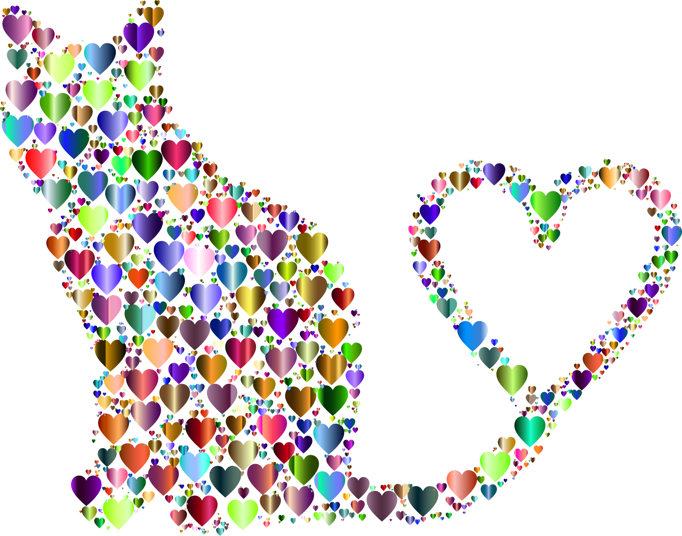 Hearts clipart cat. Silhouette heart tail