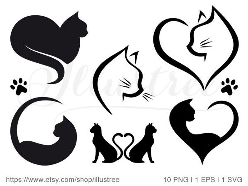 Hearts clipart cat. Heart digital clip art
