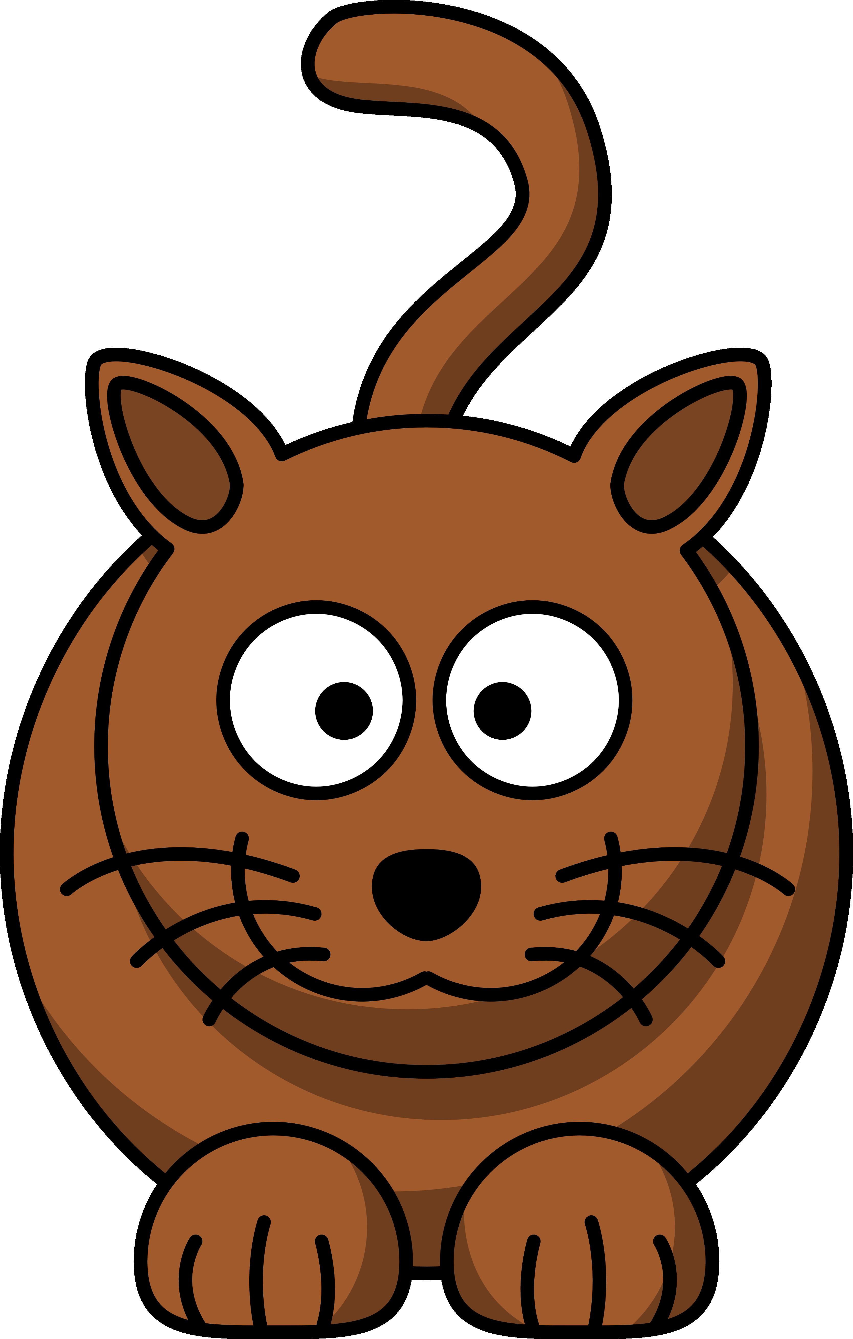 Clipart cat illustration. Cartoon brown free image