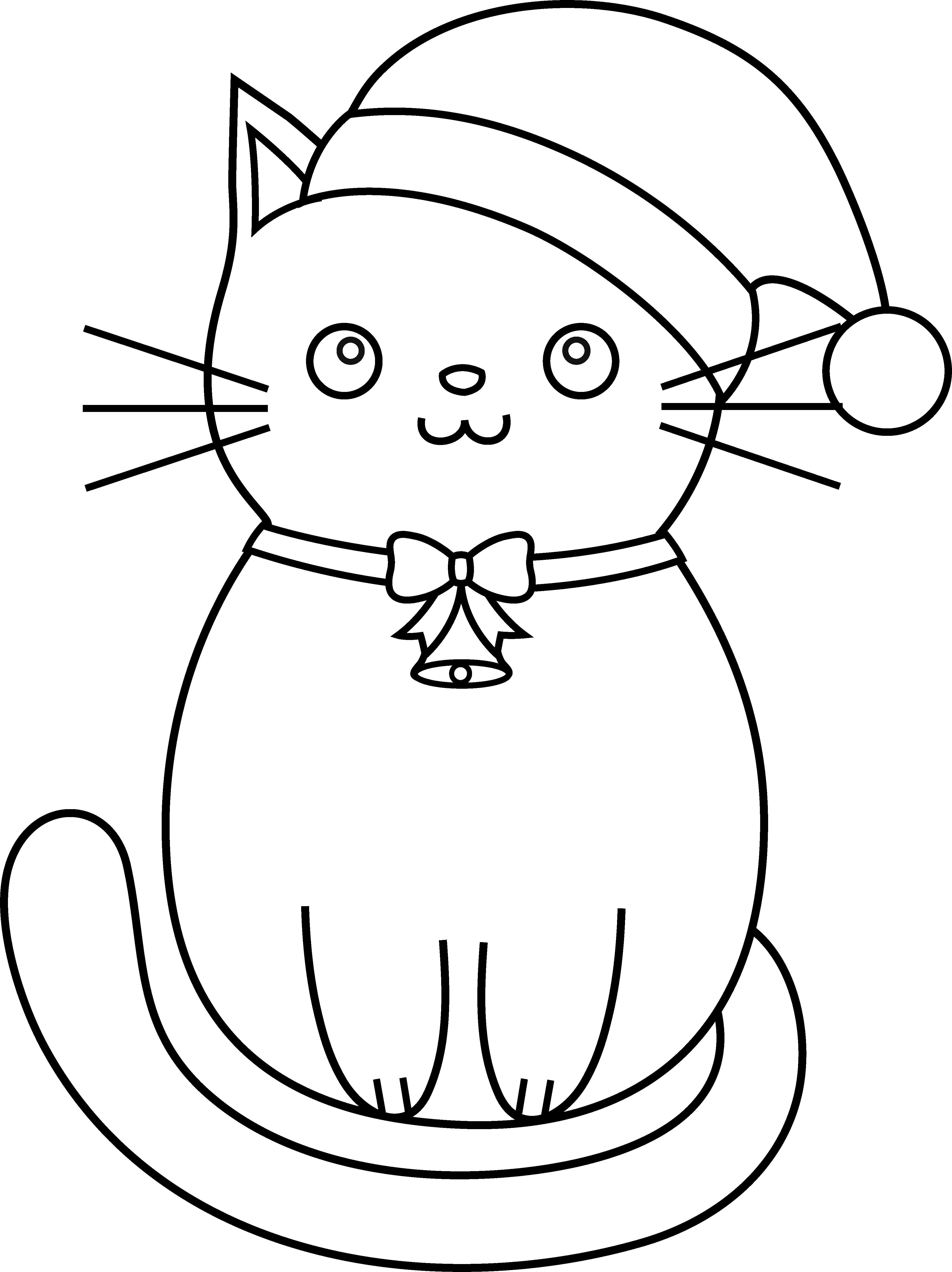 Color clipart christmas. Cat line art free