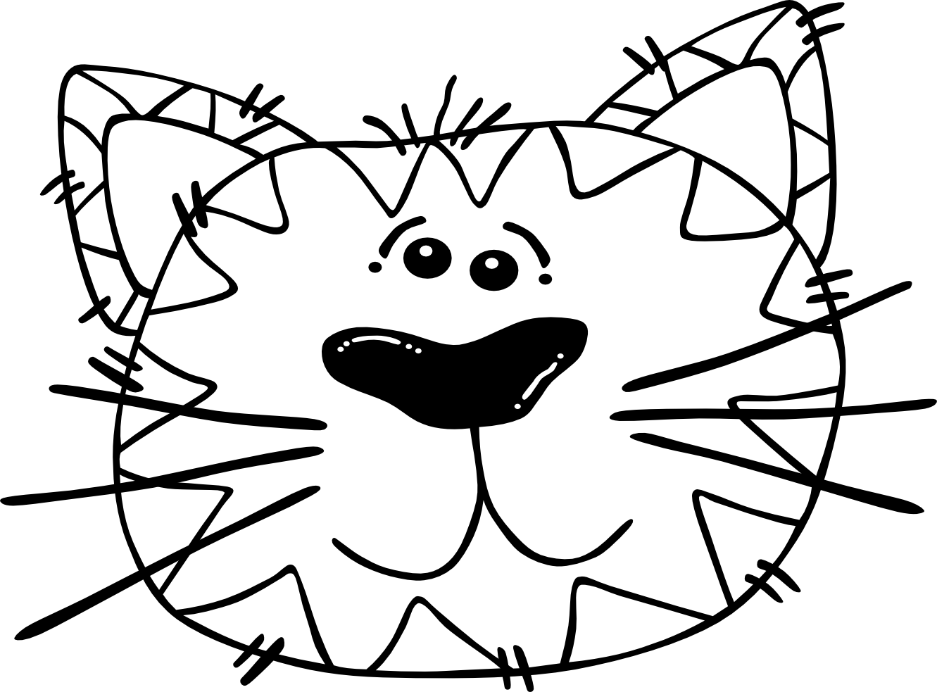 Coloring clipart cat. Weird face page fascinating