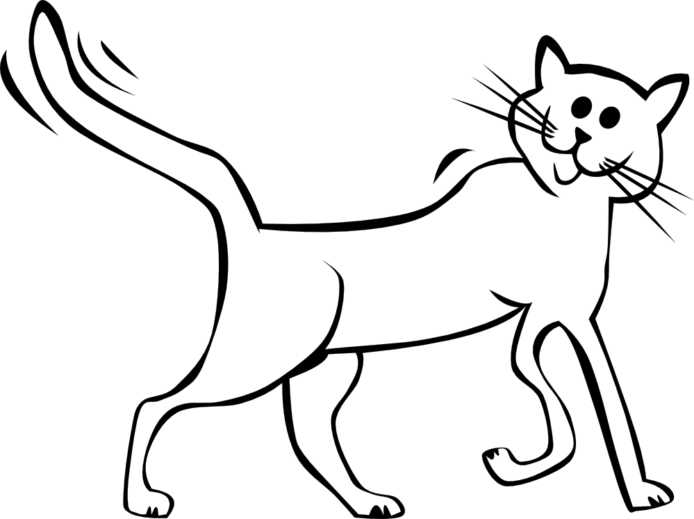 Black and white drawing. Kitten clipart cat sat
