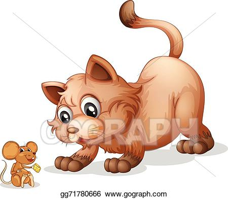 Vector art and drawing. Clipart cat mouse