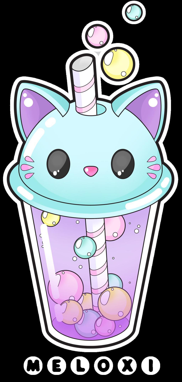Wolf clipart kawaii. Cute cat bubble tea