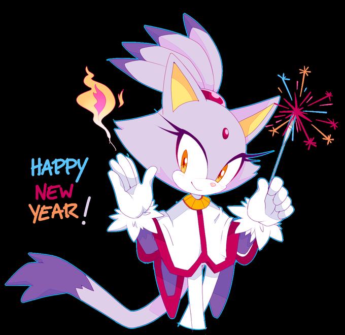 Blaze celebrating the sonic. Clipart cat new year
