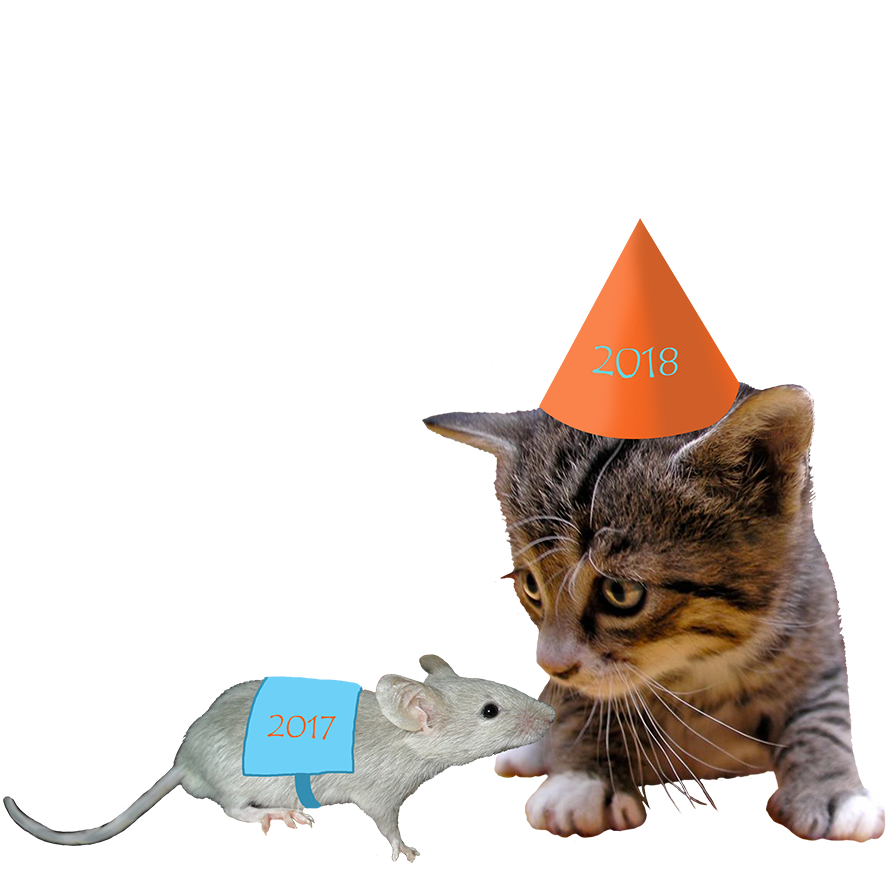 Years and mouse. Clipart cat new year