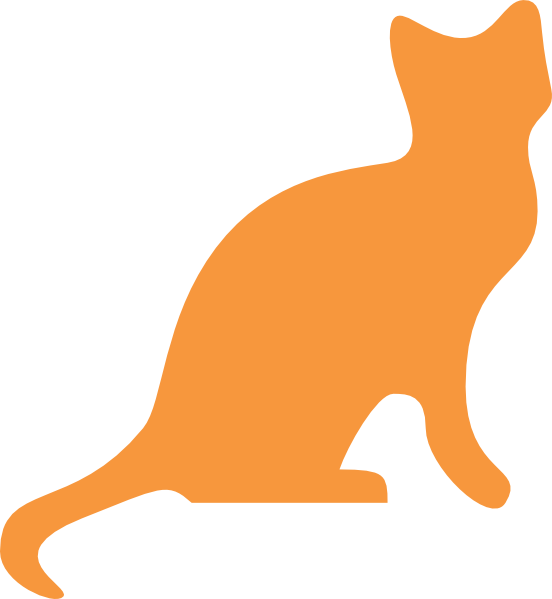 Cat silhouette clip art. Orange clipart cats
