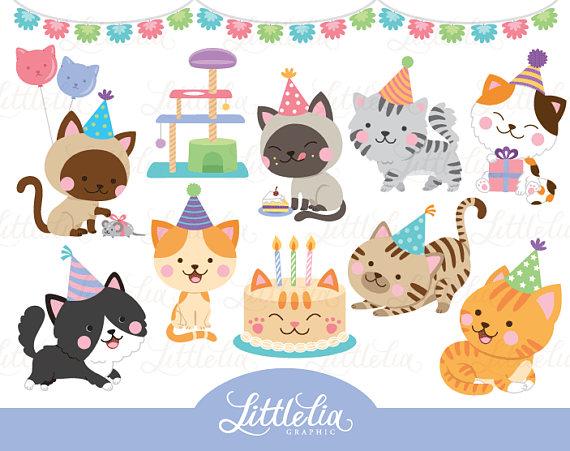 Art . Clipart cat party