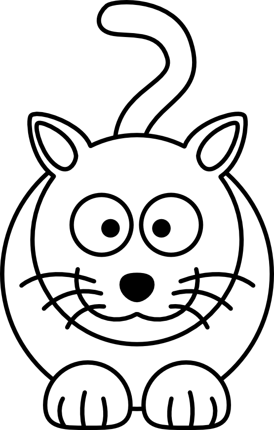 Clipart cat party. Cartoon black and white