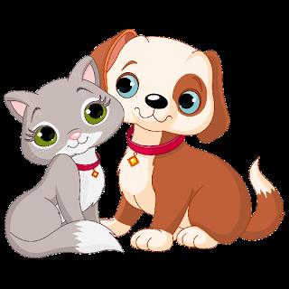 Cat and dog clip. Pet clipart cartoon