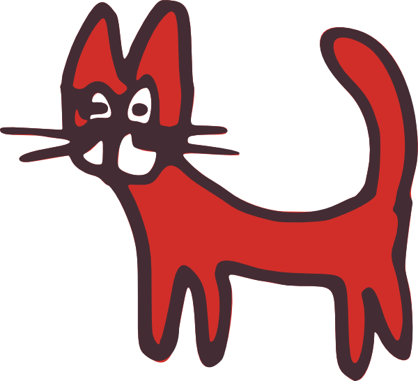 Clipart cat red. Drawn clip art at