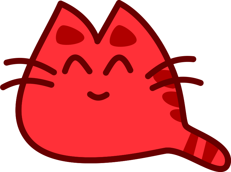 Smiling medium image png. Clipart cat red