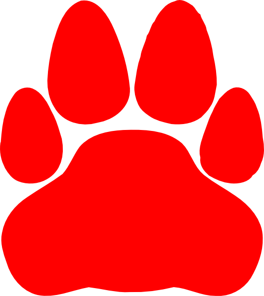 Clipart cat red. Paw print clip art