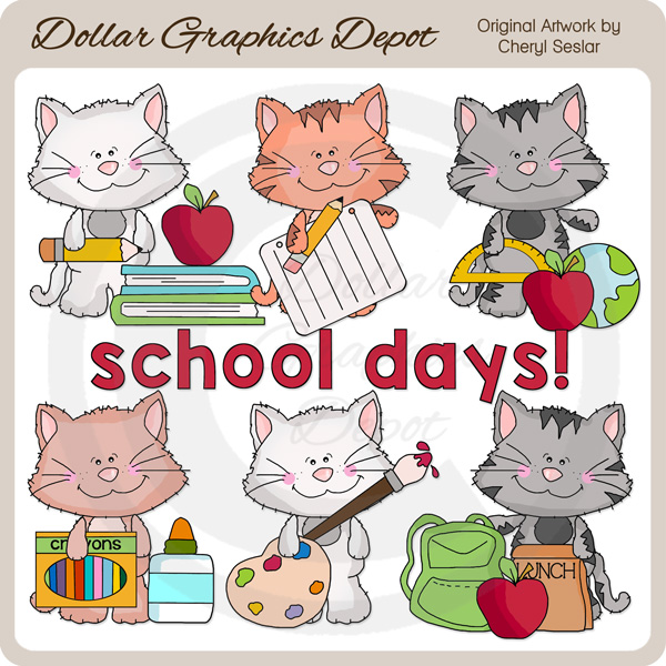 Scruffy days clip art. Clipart cat school