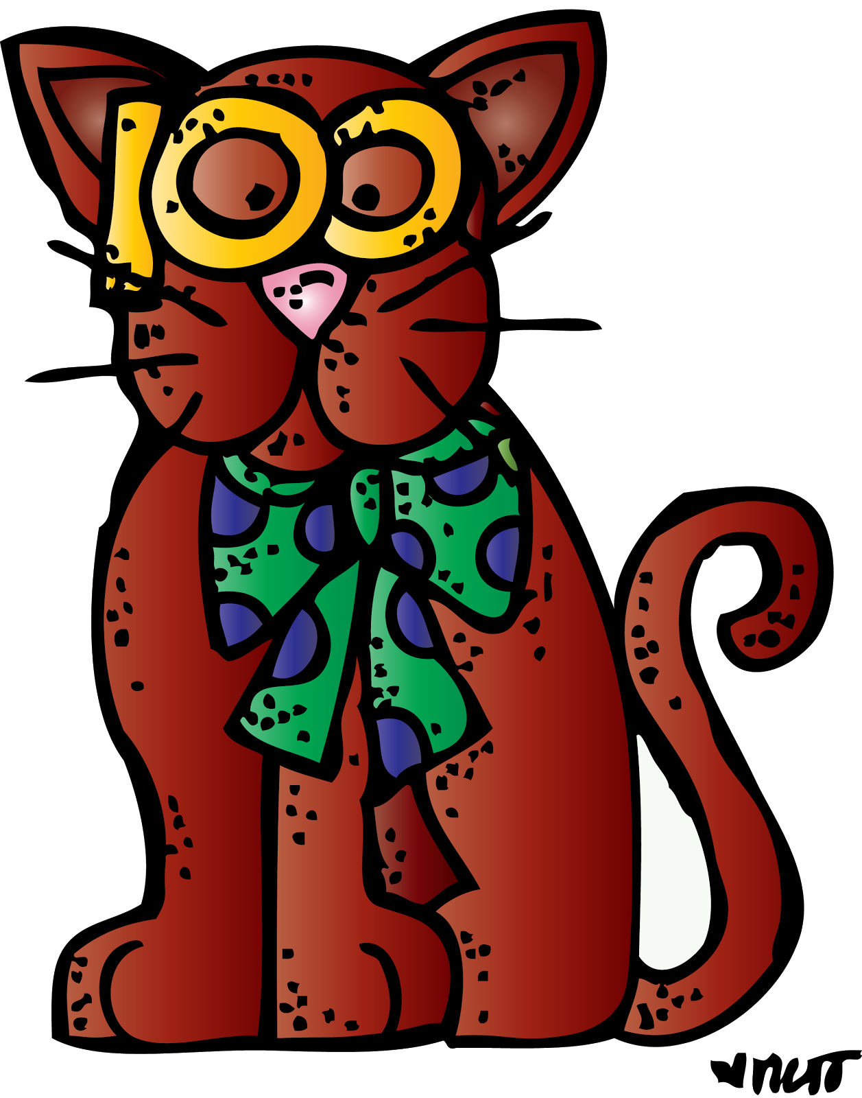 Pencil and in color. Clipart cat school