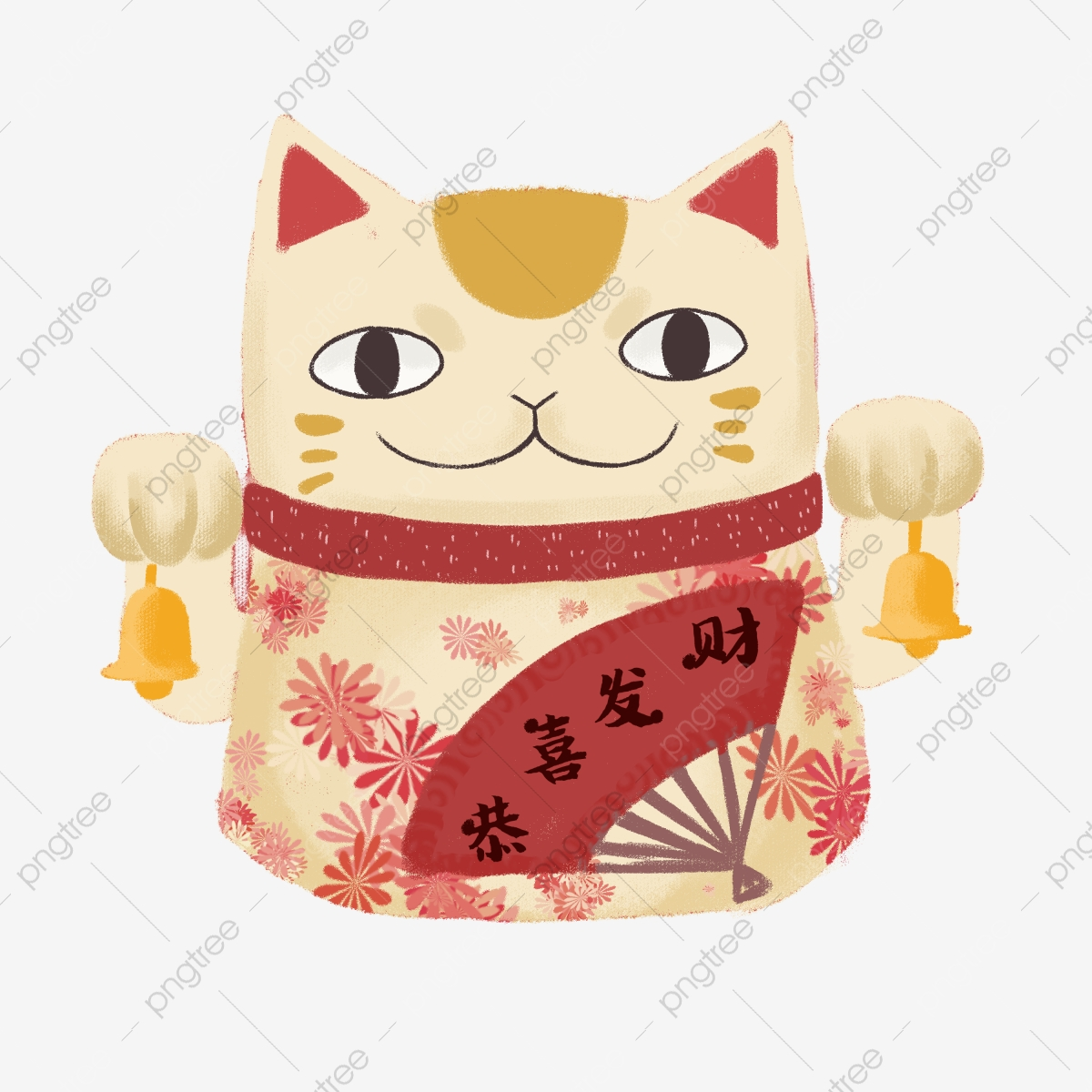 Lucky festival of new. Clipart cat spring