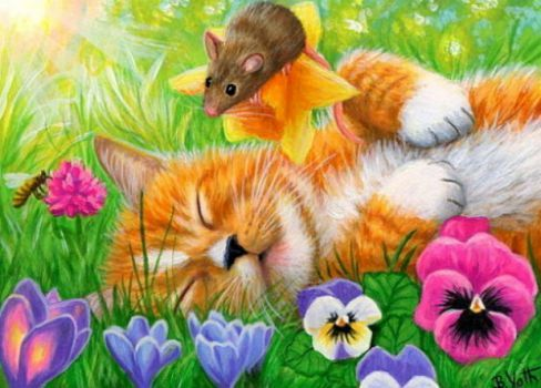 Clipart cat spring. Dreams love in drawing