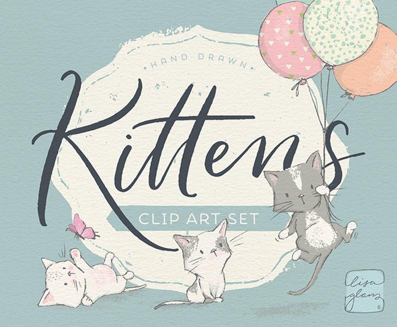 Kitten set kittens butterflies. Clipart cat spring