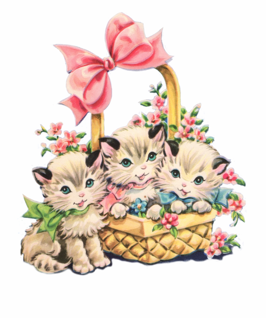 Clipart cat spring. Free vintage borders clip