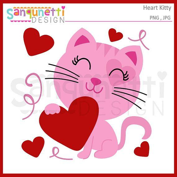 Kitty clipart valentine. Holiday cat digital art