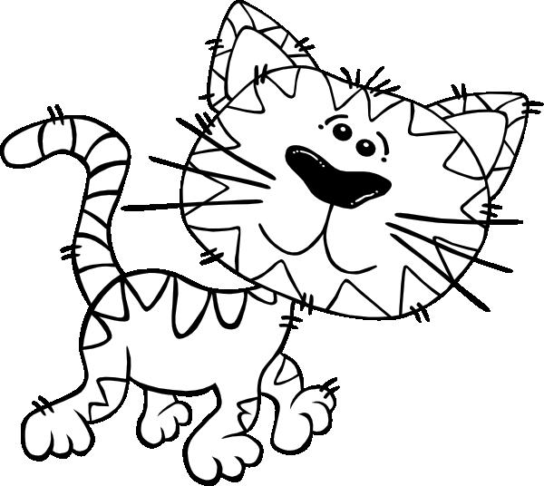 Clipart sleeping outline. Cartoon cat walking clip