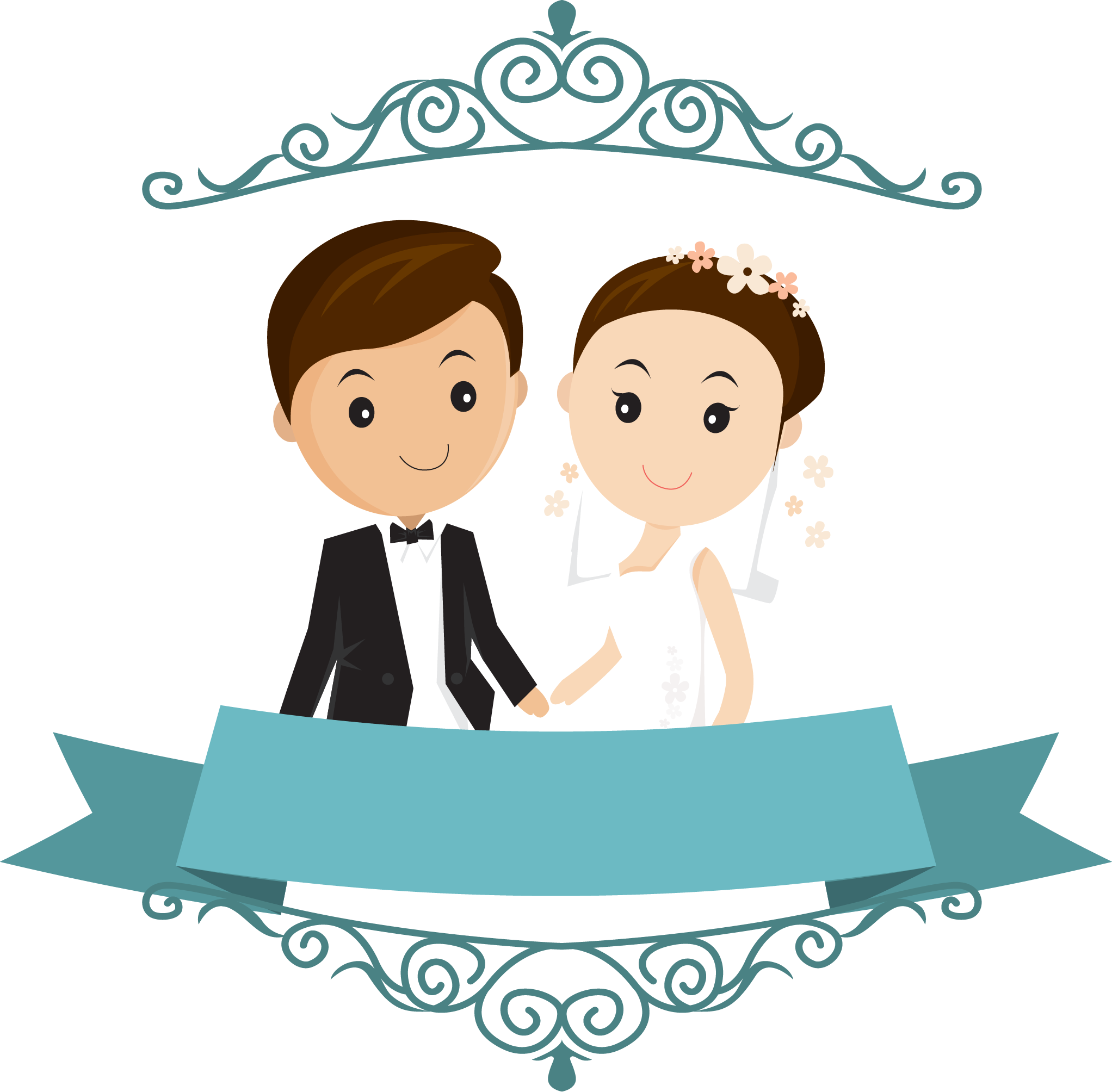 Engagement clipart wedding wishes. Cute couple cartoon floral