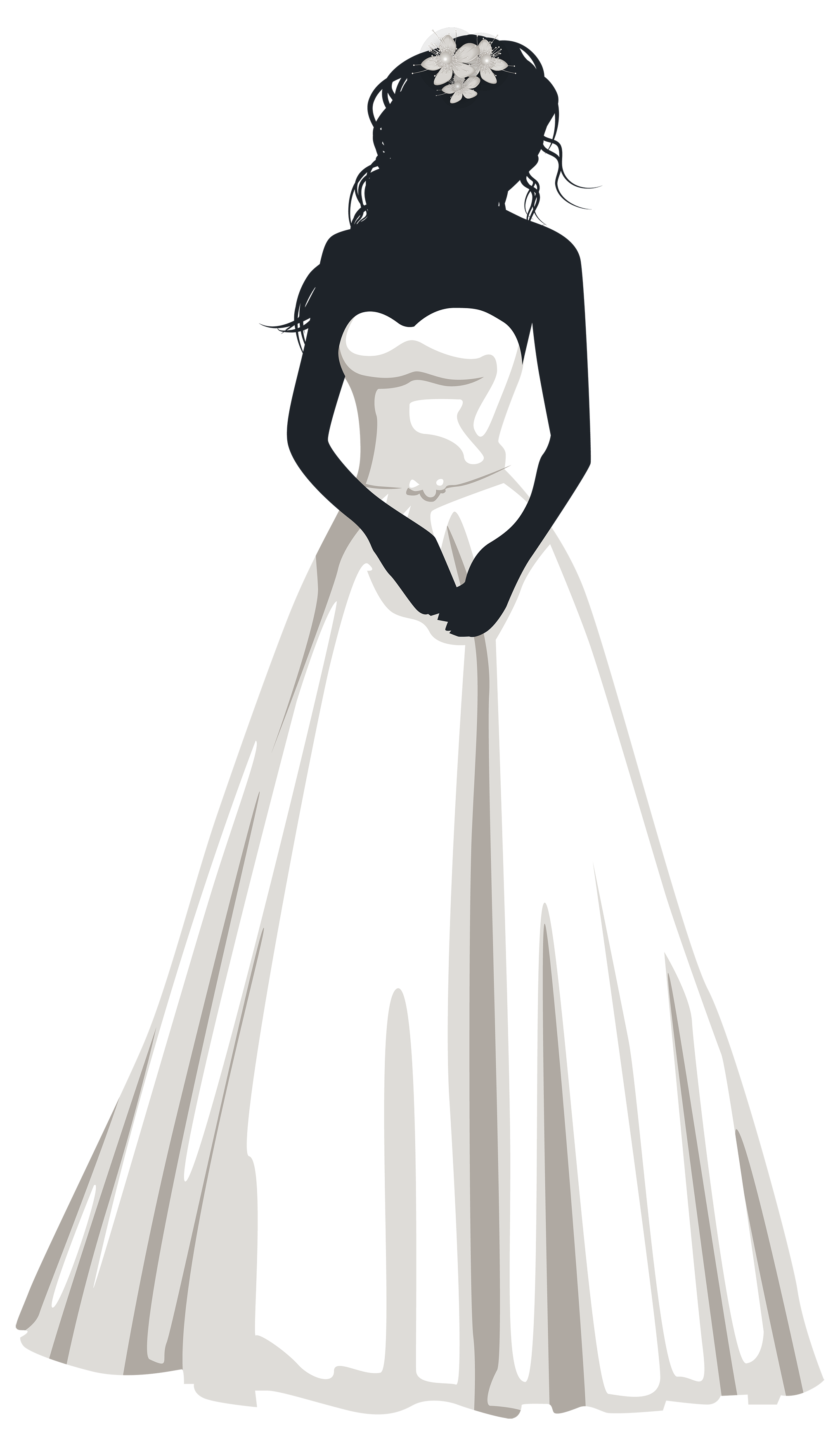 Bride silhouette png clip. Showering clipart outfit