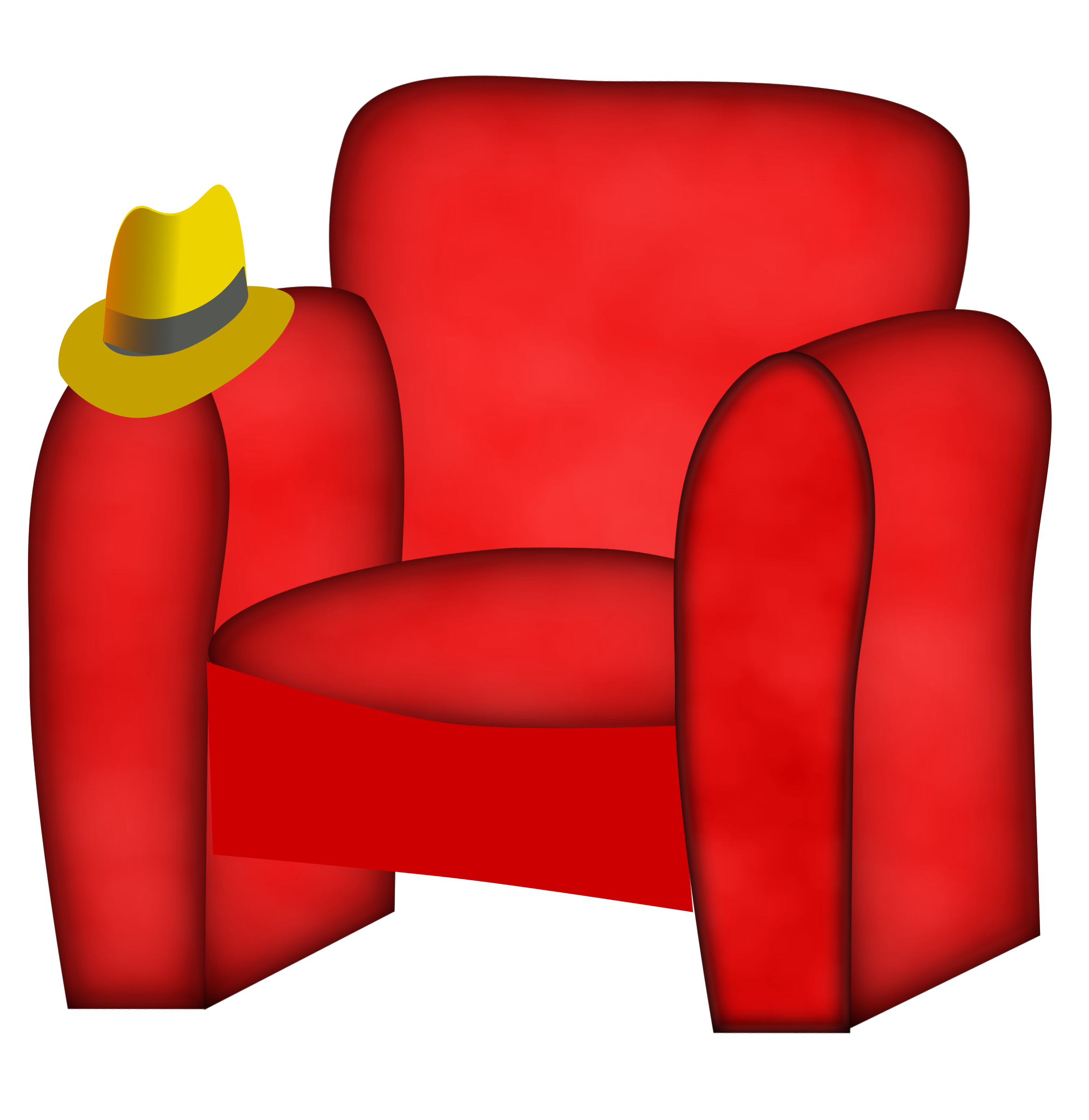 Hat on a big. Furniture clipart comfortable chair