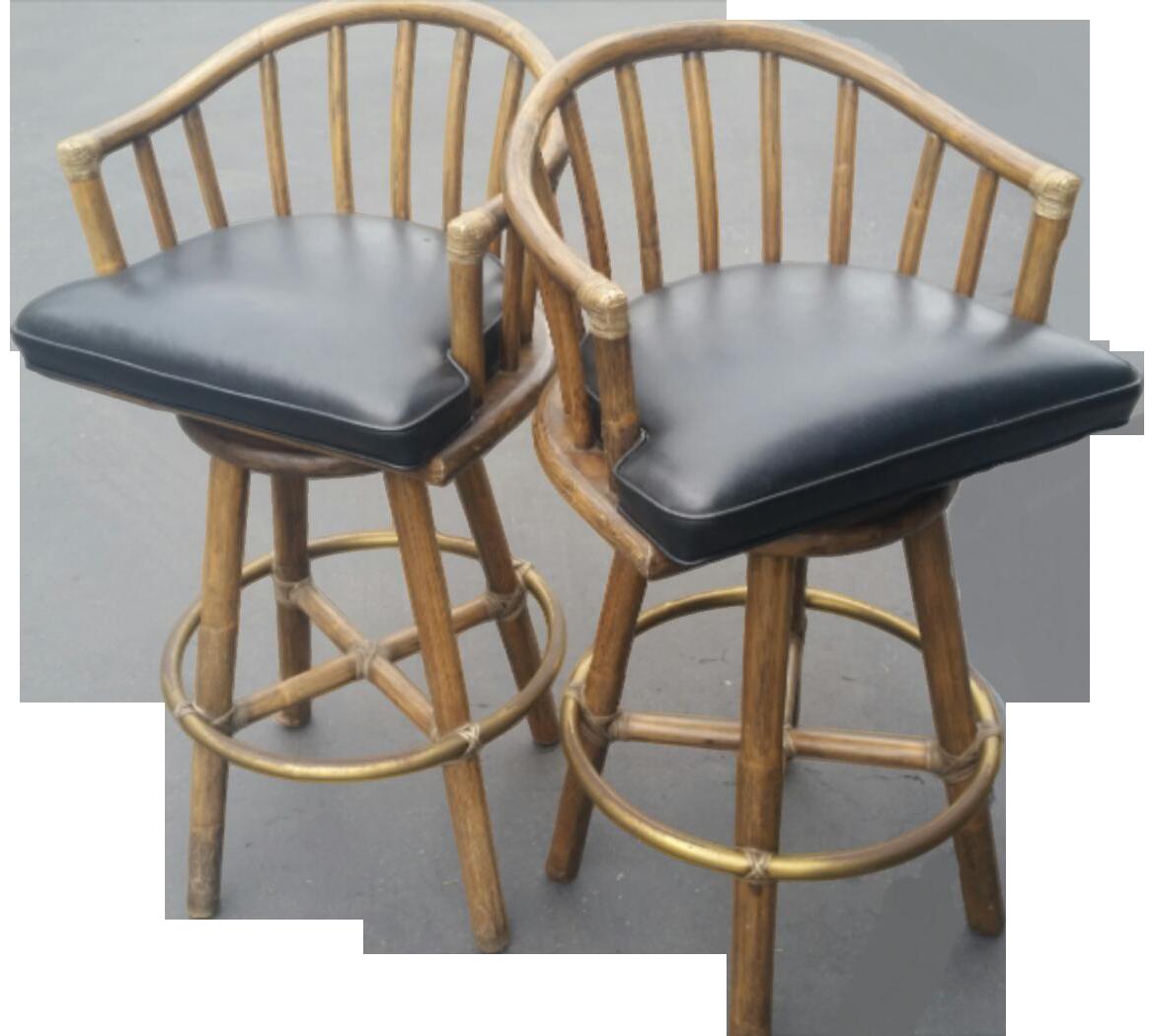 Mcguire rattan swivel barstool. Clipart chair bamboo chair
