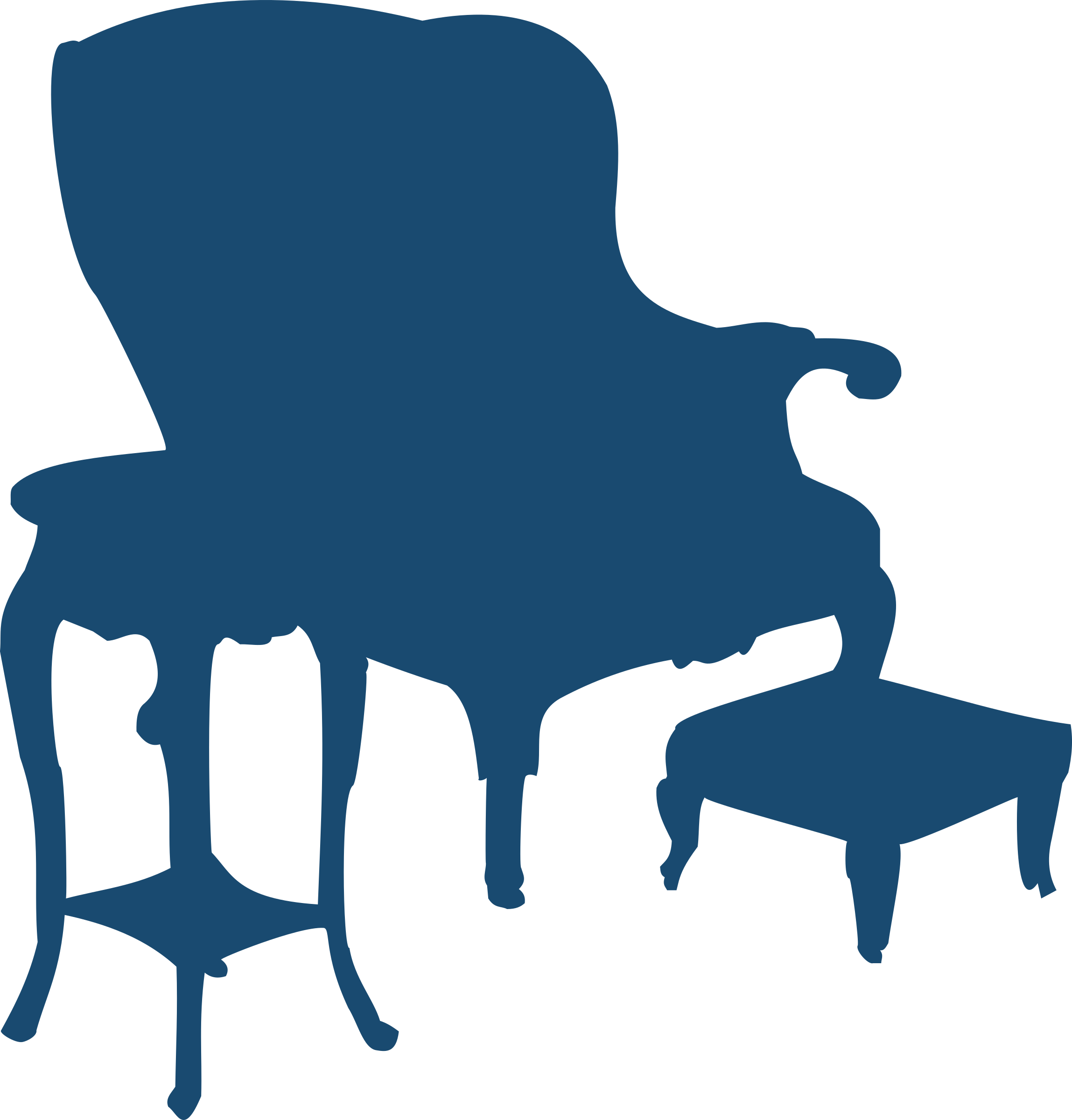 Furniture clipart silhouettes. Armchair and table big