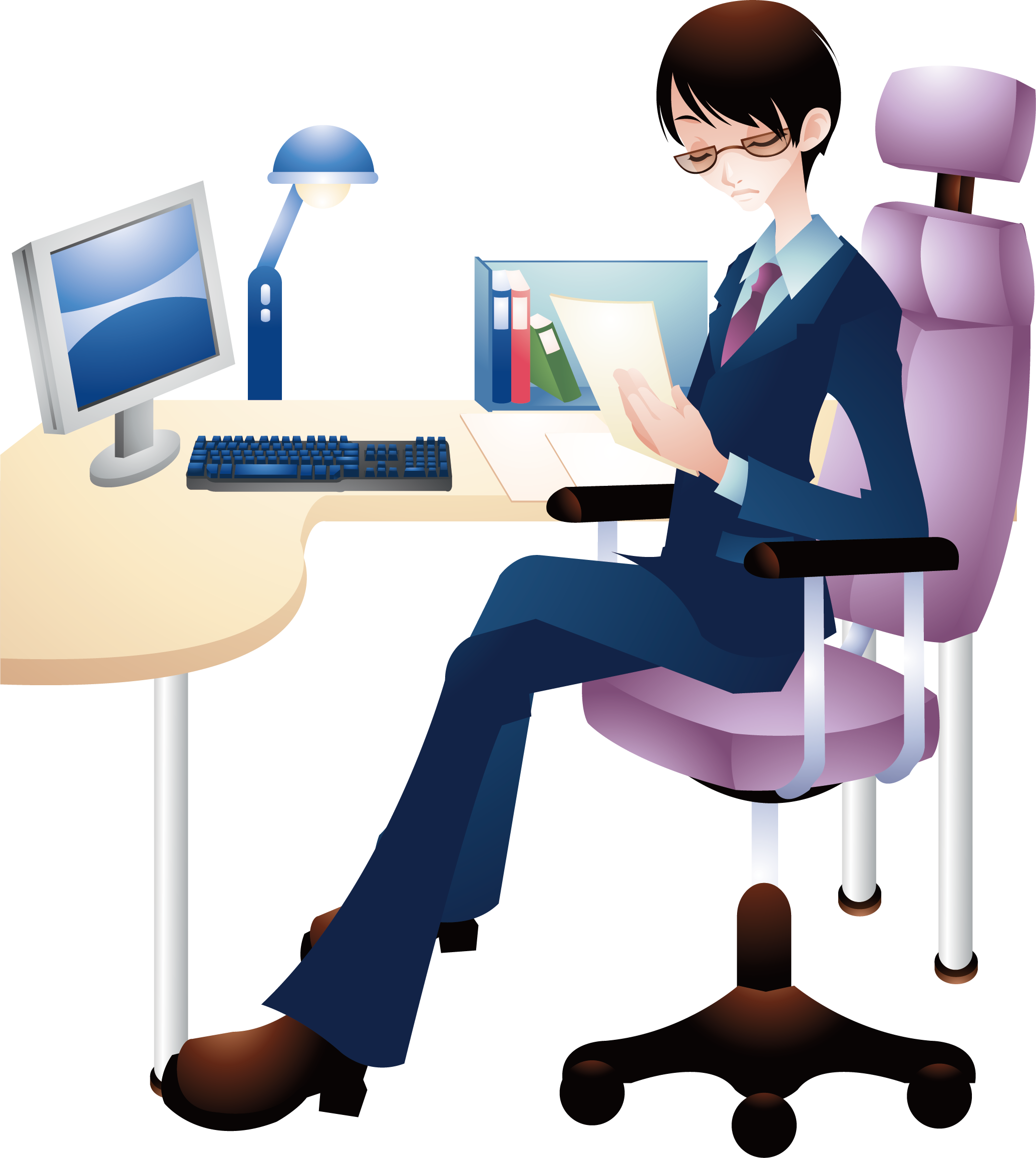 Office chair boy man. Professional clipart cartoon