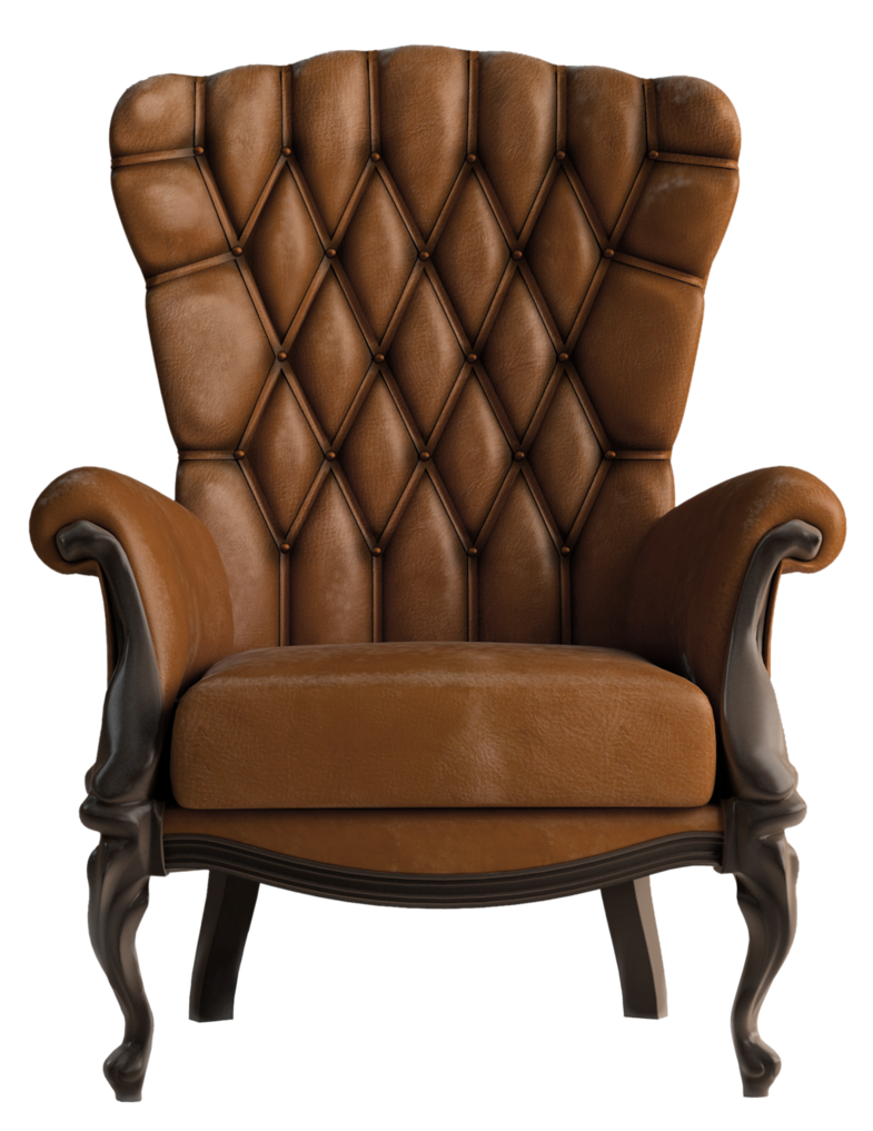 Brown leather chair by. Furniture clipart used furniture