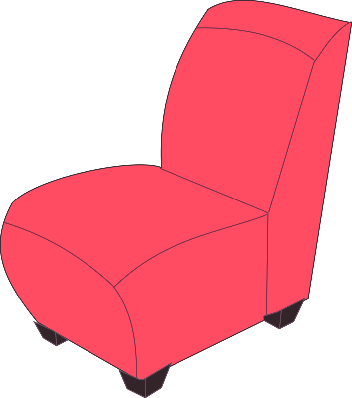 Red armless medium image. Clipart chair cartoon