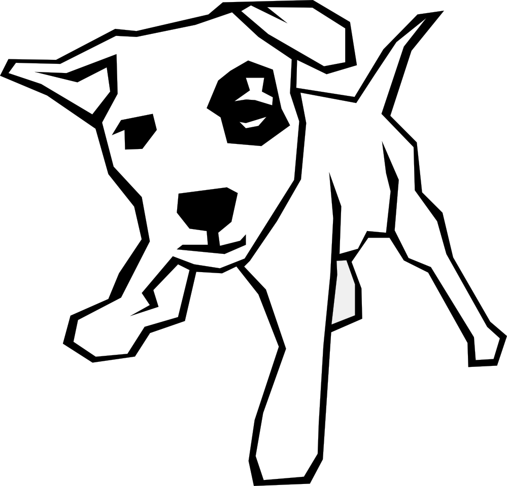 Simple drawing black white. Clipart tree dog